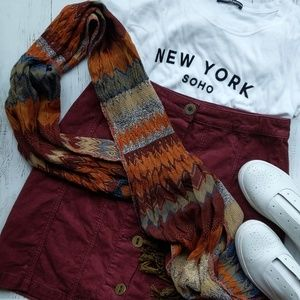 Accessories - Multicolored stripe tassel scarf